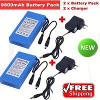 2PCS NEW DC12V 9800mAh Super Rechargeable Portable Li-ion Battery Battery Pack Y