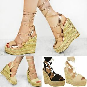 22fe5b17e1ba Womens Ladies Wedge Espadrille Sandals Lace Tie Up Strappy Party ...