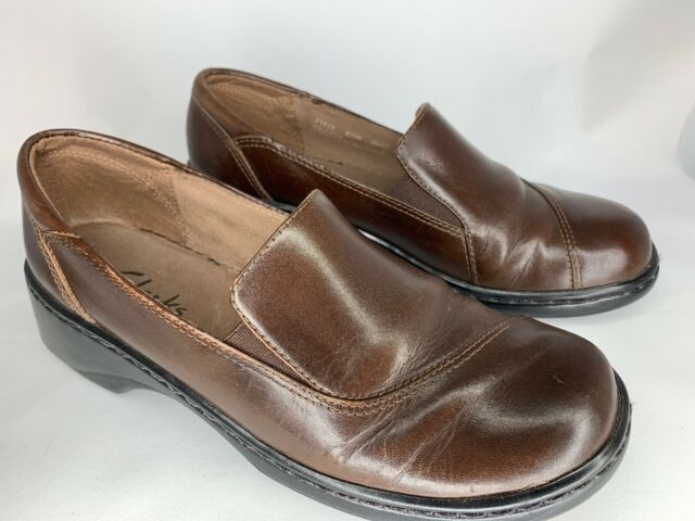 Clarks Womens Size 7 Clogs Loafers Brown Leather Slip on 71322