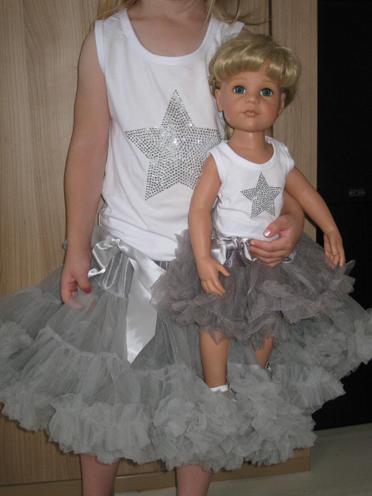 Puppen-Set + Mädchen-Set, 46-50cm Puppe, ca Gr.104-110, 3-4 J., Puppenkleidung