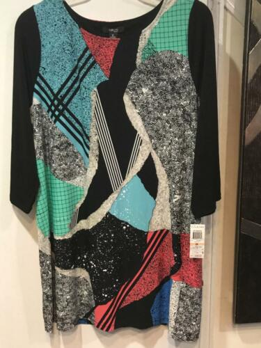 Women/'s-work day cocktail-Church Abstract Print stretch knit Tunic Top plus 2X3X