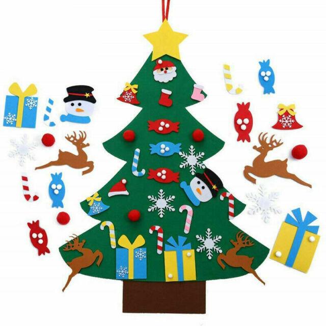 Kids Felt Christmas Tree with Ornaments Xmas Gift DIY Door Wall Hanging Decor SW