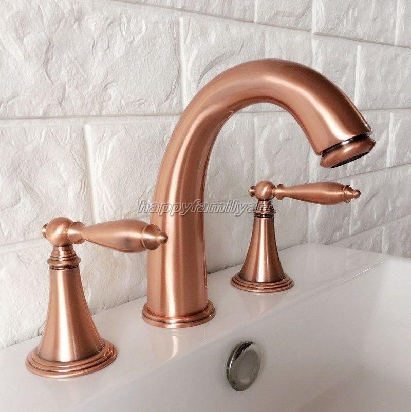 Antique Rouge Cuivre Laiton généralisée 3 trous salle de bain robinet de lavabo Robinet yrg036