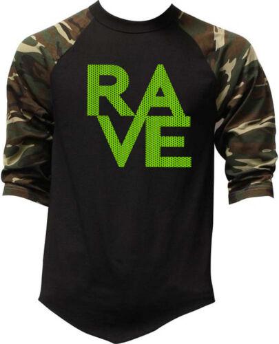 New Men/'s Neon Polka Dot Rave Camo Baseball Raglan T Shirt Music EDM Dance Music