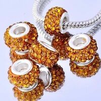 5Pcs Silver Plated Orange Cubic Zirconia Charms Beads Fit European DIY Bracelet