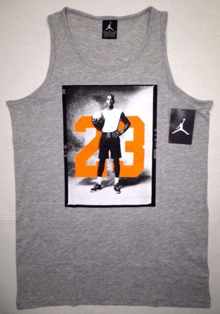 0d3c4ae1493 NIKE AIR JORDAN Boys JUMPMAN Muscle Tee Tank Top 23 Logo GRAY Youth XL 13-