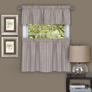 Details about Sydney Plaid Decorative Linen Kitchen Window Curtain Tiers or  Valance