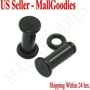 0931-Black-Acrylic-Single-Flare-Ear-Plugs-6-Gauge-6G-4mm-MallGoodies-One-1-Pair