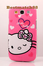 for Samsung galaxy i9300 S3 S III cute kitty  case pink w/ heart polka dot bow
