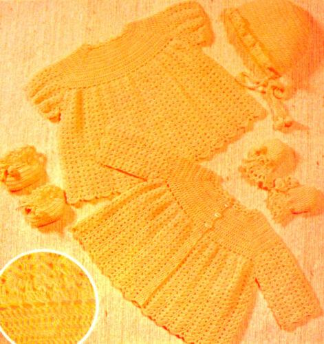 #64 Baby Girl Coat Dress Bonnet Boots Mitts Birth-3months Vintag Crochet Pattern