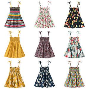 Toddler-Baby-Kids-Girls-Flowers-Ruched-Strap-Summer-Sleeveless-lPrincess-Dress