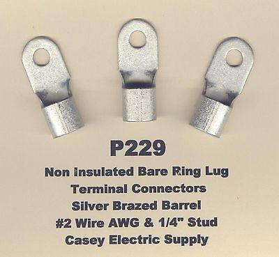 "5 Bare RING Lug Brazed Barrel Seam Terminal Connector #1//0 Wire 1//4/"" Stud MOLEX"