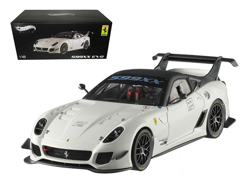 nuevo listado 1 18 Hot Wheels Elite Ferrari 599XX Evo    2 Diecast Modelo Coche blancoo BCJ92  liquidación hasta el 70%