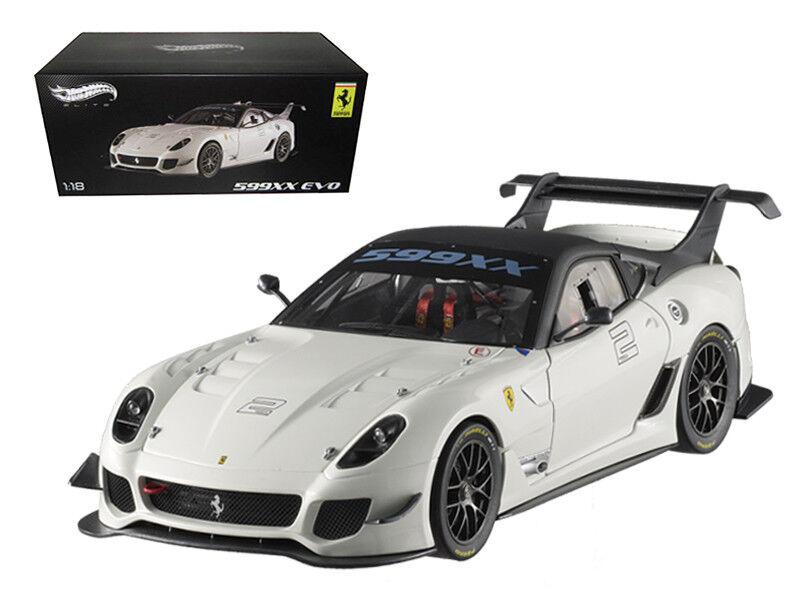1 18 Hot Wheels Elite Ferrari 599XX Evo  2 Diecast Modelo Coche blancoo BCJ92