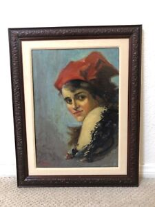 🔥 Antique European Impressionist Oil Painting Portrait, Girl & Red Hat - Signed