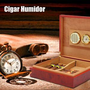 20-25 Cigars Cedar Wood Cigar Desktop Humidor With Hygrometer Humidifier Holds