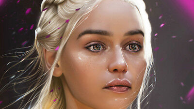 Game of thrones khaleesi Daenerys Targaryen Poster Wallpaper 24 X 13 inch