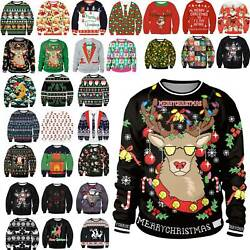 Damen Herren Ugly Weihnachten Santa Xmas Pullover Shirt Sweatshirt Christmas DEU