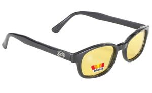 X KD's Sunglasses Original Biker Shades Motorcycle Polarized Black Yellow 10129
