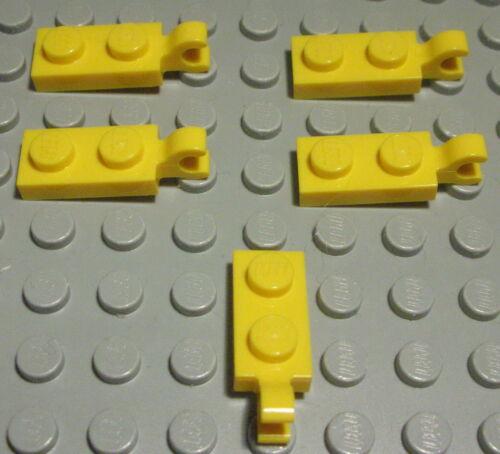 Lego Platte mit Clip 1x2 Gelb 5 Stück                                     (1033)