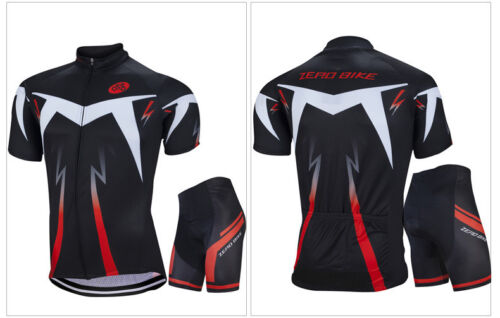 Men/'s Reflective Casual Cycling Kit Bike Short Sleeve Jersey /& Padded Shorts Set