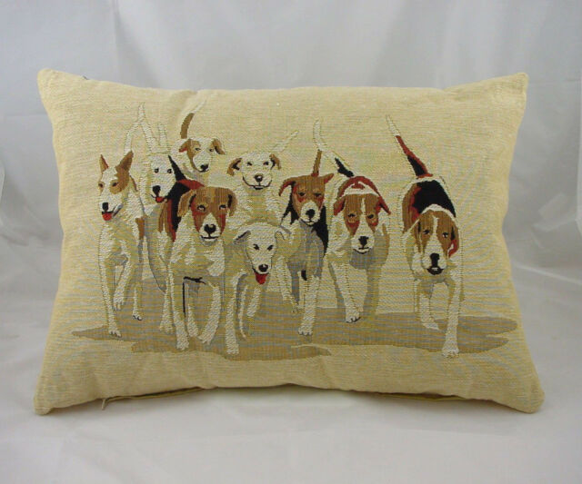 "Hounds Hunting Dogs Belgian Woven Tapestry Cushion Evans Lichfield 18""x13"" LA515"