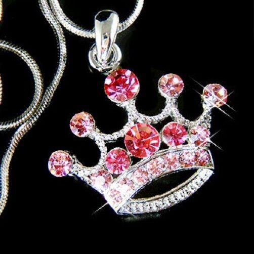 Swarovski Cristal Mariée Tiare Reine  pink Couronne Bal Promo Collier Pendentif