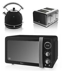 NUEVO-Swan-Cocina-Retro-Juego-Negro-microondas-1-7l-Pava-Con-Cupula-amp