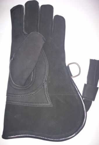 "P# 7284 3 Layer, Falconry Glove Triple Skin Nubuck Leather 12/"" Charcoal Black"