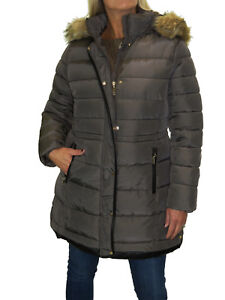 Fur Quilted Hood Detachable Coat Plus 22 Size Faux Puffer New Brown 12 wY1A5WqxU