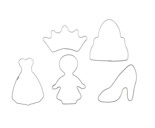5 Ausstechormen Kleid Krone Keksausstecher Schuhe Handtasche Keks Ausstecher