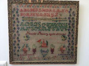 Ancien Grand Abecedaire Broderie Ancienne Aux Points De Croix Date 1904 Ebay