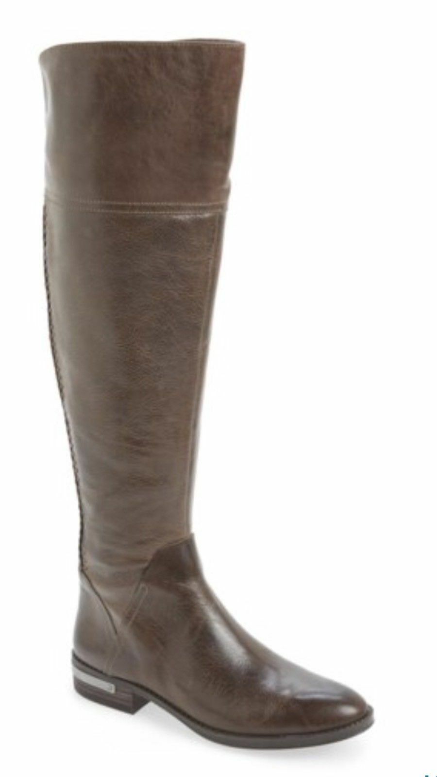 Vince Camuto Pedra Over Over Over The Knee Riding Boot Grey Leather Sz. 6 Wide Calf NEW b05ee5