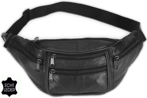 BAUCHTASCHE Schwarz ECHT LEDER Hüft-Tasche Gürteltasche Doggy Bag NEU Mod. No.2