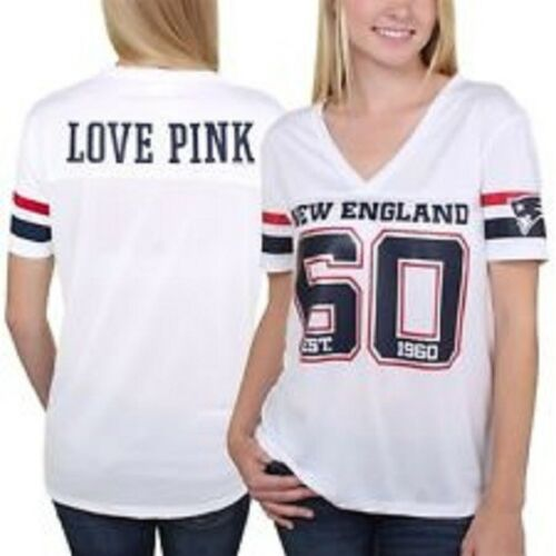 NFL  VICTORIA SECRET NEW ENGLAND 60 PATRIOTS JERSEY SHIRT LOVE PINK ON BACK MESH
