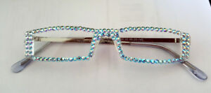 BLING-READERS-READING-GLASSES-MADE-WITH-AQUA-AB-SWAROVSKI-CRYSTALS-SILVER-ARMS
