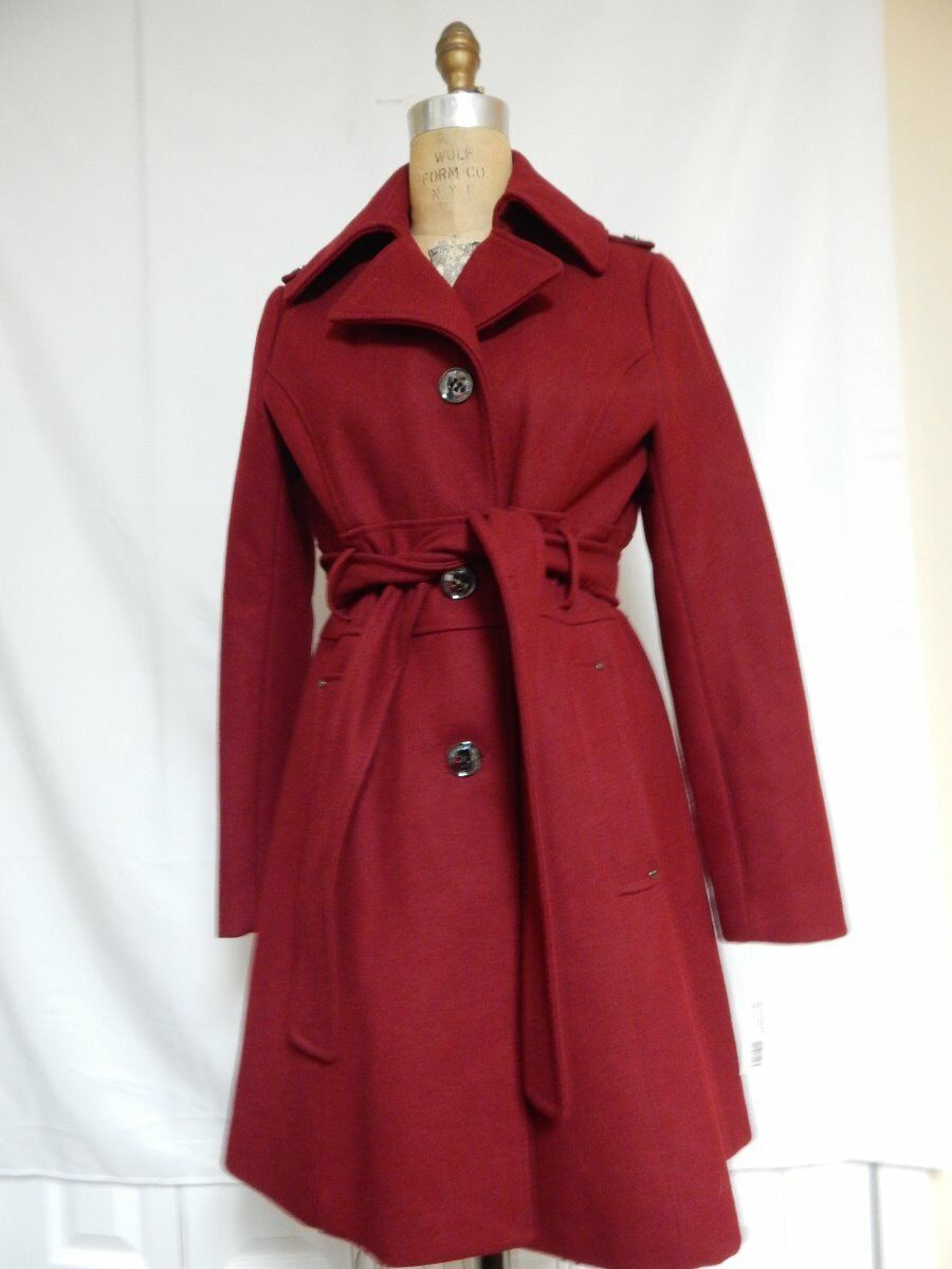 Kenneth Cole Wool Blend Assymetrical Military Trench Coat CM576 Garnet  NWT