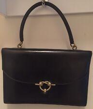 Auth Vintage Hermes Sac De Cordeliere Black Leather Handbag With Gold Hardware