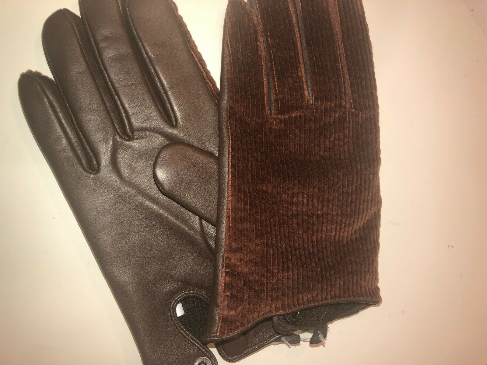 Gloves new men's leather brown Made in Italy size L