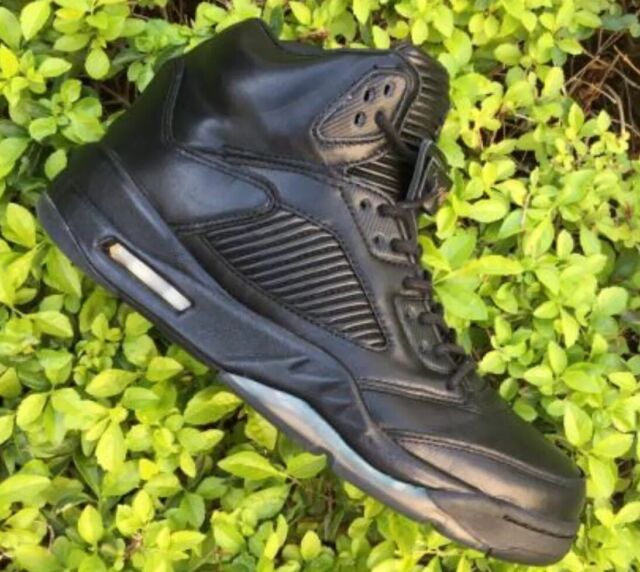 d3a3bab03906f9 Nike Mens Air Jordan 5 V Retro Premium Triple Black Leather 881432 ...
