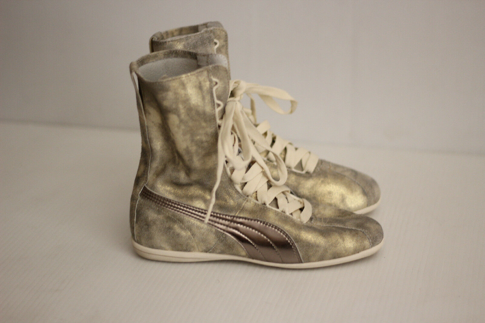 PUMA Eskiva Hi Gold Metallic Lace Up Leather Sneaker Boot Bootie - 6.5US  (B72)