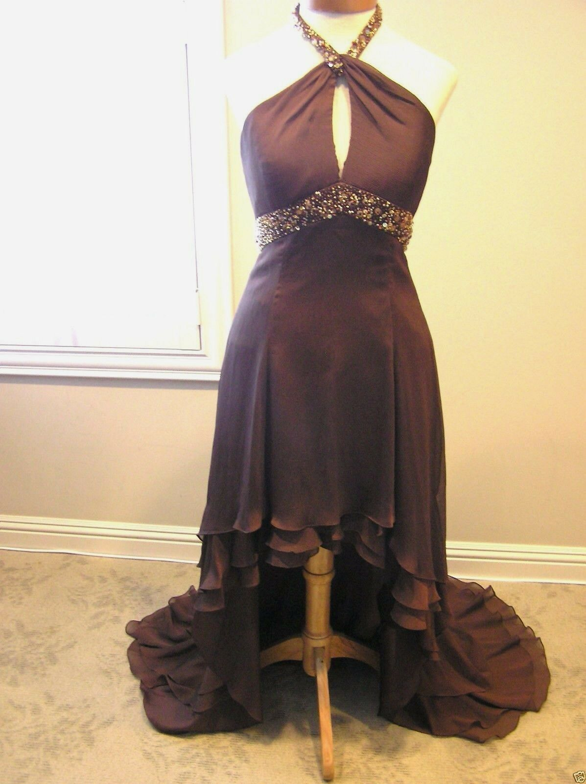 LAFEE E1010 Halter prom cocktail occasion High Low dress espresso brown NWT 2