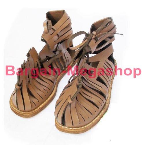 Sandali e scarpe per il mare da uomo Roman Leather Sandal Caligae Light Brown Color Size 10 Medieval