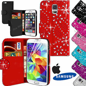 Plain-Bling-Diamonte-Studs-Leather-Wallet-Jewel-Flip-Case-Cover-For-All-Phones