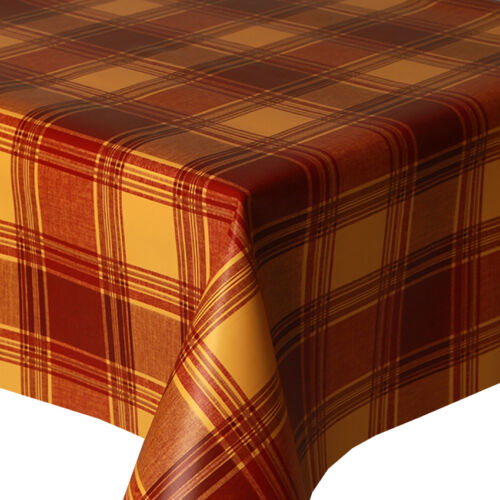 PVC TABLE CLOTH HIGHLAND TERRACOTTA TARTAN CHECK RED VINYL WIPE ABLE PROTECTOR