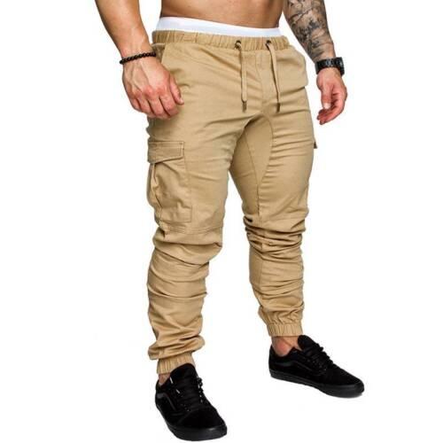 Men Casual Pants Twill Jogger Hip Hop Elastic Sports Slim Fit Stretch Trousers A