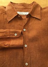 #S23 Barney's New York Italy Sz M 100% Linen Reddish Brown L/S Button Down Shirt