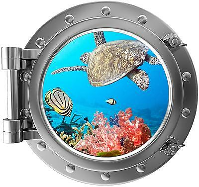 "12"" PortScape Sea Window Tropical Reef Life #1 Porthole Wall Decal Art Sticker"