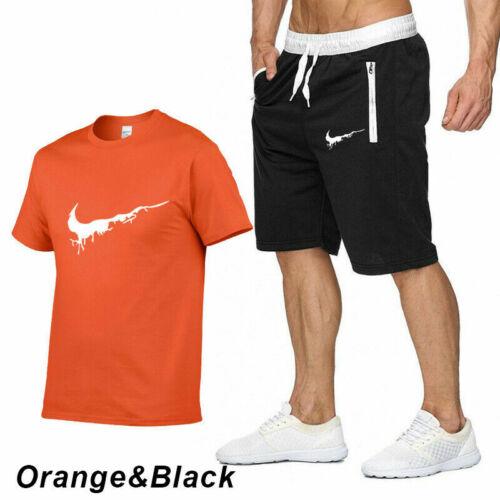 Men T-Shirt Shorts Set Plain Top Bottom Swim Gym Casual Tracksuits Cotton Jogger