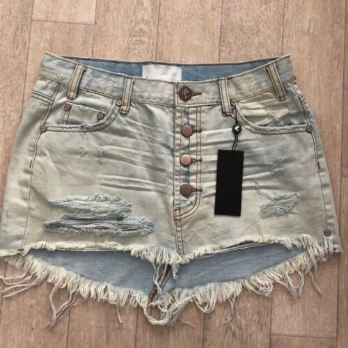 Teaspoon Gold Mini Trashed 24 32 Old Distressed Junkyard Skirt 28 23 Jeans One 7Hatwqd7